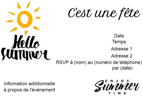 Bonjour Summer Cartoon Sun C'est la carte d'invitation Summer Party