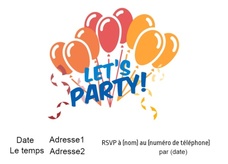 Faisons la f锚te avec beaucoup de ballons Energetic Party Invitation Card