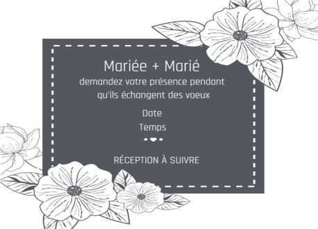Cartoon Groom And Bride Carte d'invitation de mariage romantique