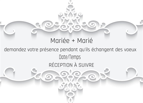 Carte d'invitation de mariage blanc pur simple et 茅l茅gant