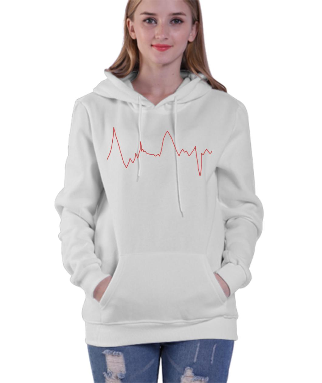 Pull � capuche imprim茅 dessus �lectrocardiogramme